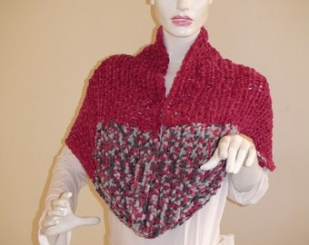 Soft Light  infinityBordeaux Grey scarf. Cozy Colorful Shawl for women . Super bulky wrap.