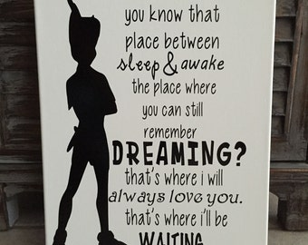"""Handmade Peter Pan Wood Sign 12""""x15"""""""