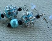 Stunning Aqua Tibetan Rhinestone Inlaid Alloy Beaded Earrings With A Matching Bracelet