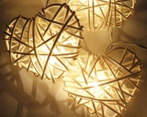 20  WHITE HEART wicker wooden ball string lights Rattan