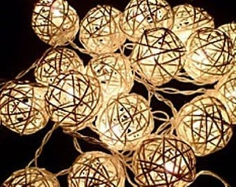 20 Cream White Rattan BALL String Lights for Wedding Christmas Birthday Party
