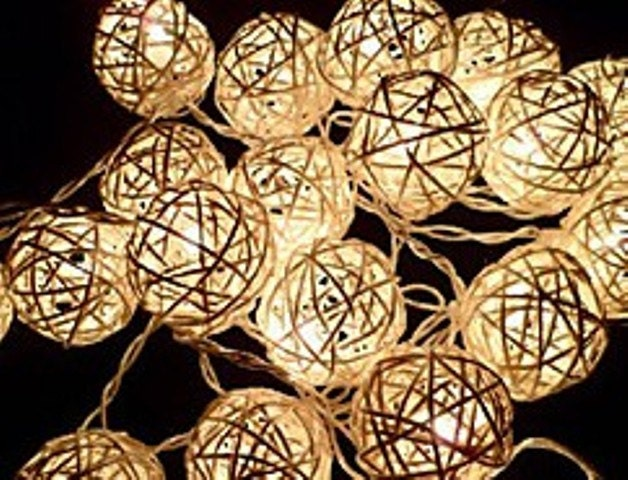 Custom Party String Lights : 20 Cream White Rattan BALL String Lights for Wedding Christmas