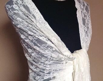 Soft Lace Shawl / Wrap / Shrug / Large Scarf / Bolero - Floral Pattern - Colours available : Ivory, Black