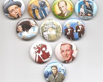 Bing Crosby White Christmas  Set of 10 Pins Button Badge Pinback