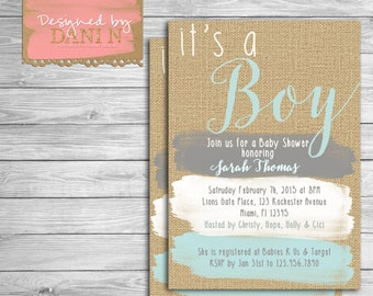 Baby Shower invite, rustic burlap invitation, paint strokes, blue and grey shower party invite, baby boy shower, its a boy shower