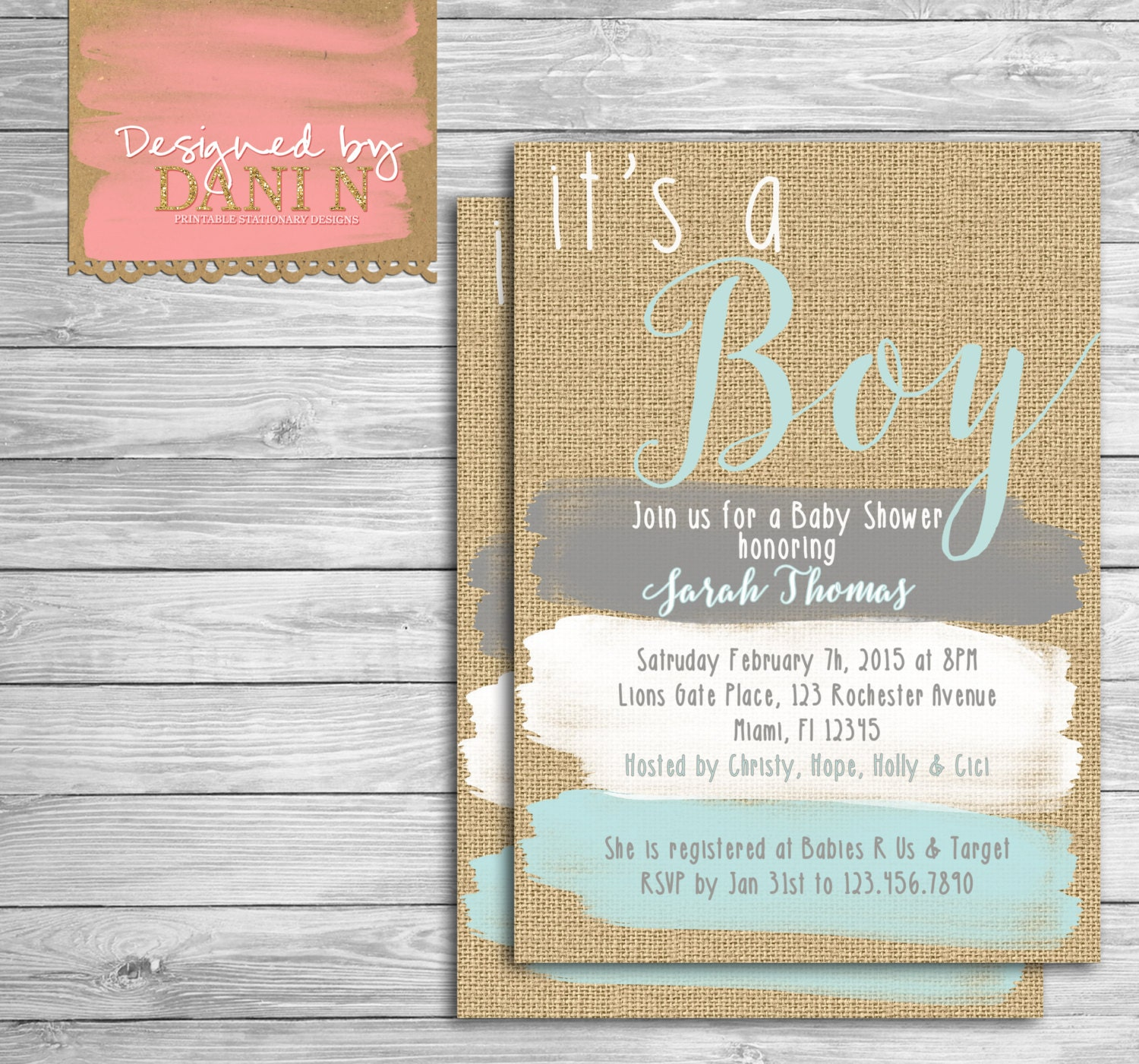 Baby Shower invite rustic burlap invitation paint strokes