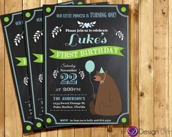 Baby Boy First Birthday Invitation, Chalkboard, Cute Bear, Balloon, Party hat, Blue #B1018_Boy