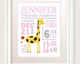 Nursery Wall Art Girl- Nursery Theme Giraffe Baby Birth Announcement , Baby Girl Birth Statistics, Baby Girl Birth Announcement