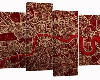 "London Map, set of 4 new panels 30""x20"""