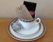 Vintage Tea Cup and Saucer, Tea Cup Trio Gift Set, Mini Bag of Loose Leaf Tea and Tea Infuser