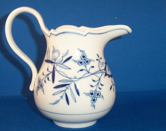 Meissen Blue Onion China 20 oz Milk Jug/Pitcher Crossed Swords Marked bottom and front cobalt blue on white pottery