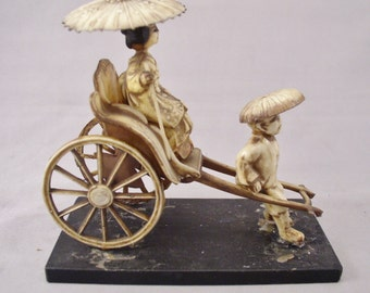 "1930s Celluloid Geisha Girl in Pull Cart - Pre War Japan - 4"" Long"