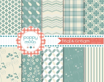 Teal cream pattern printable digital paper pack