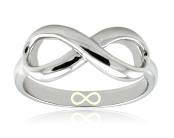 Sterling Silver Infinity Icon Engraved Infinity Ring