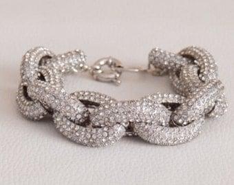 Six Rows Classic Pave Link Bracelet Silver Glass Statement Big Bracelet