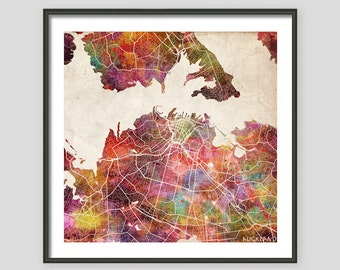 Auckland Map New Zeland Giclee Fine Art Modern Abstract