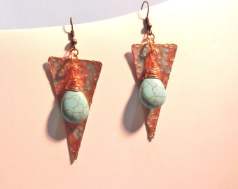 Hammered copper and Turquoise Earrings