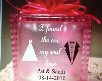Glass block with rose and quote. Great for Valentines Day or Anniversary.