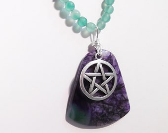 Purple and Green Druzy Agate pendant with pentagram charm