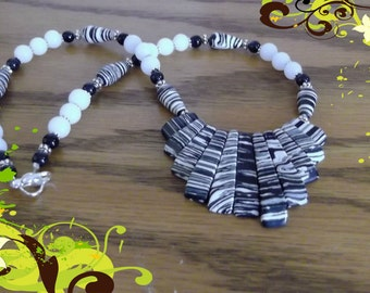 Zebra strip Turkey turquoise necklace