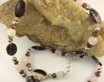 Australian Outback Jasper, Rose Quartz necklace with 10 mm hexogoganal pewter bead with etched daisy and 12 mm root beer brown crystal bead.