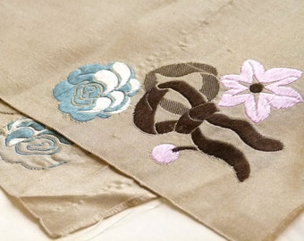 Beautiful 1800s antique silk ribbon, light taupe/beige w/ teal, dusty rose, chocolate rose and ribbon motif, costume design, millinery