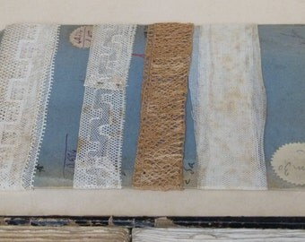 Beautiful collection of 4 antique laces on their original sales card, wonderful aged tones vintage wedding, costume design, period supplies