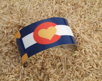 Colorado State Flag with heart  Aluminum Cuff Bracelet