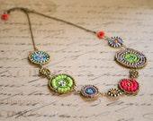 Multi-coloured Maasai beadwork necklace