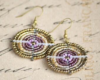 Lilac and gold circular Maasai bead-work earrings