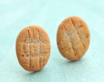peanut butter cookies earrings- miniature food jewelry, food earrings, cookie earrings