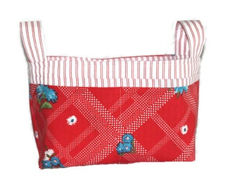 Handmade Fabric Basket. Vintage Floral fabric in red, white, blue, green. Nappy / Diaper Caddy. Toy Storage. Organiser.