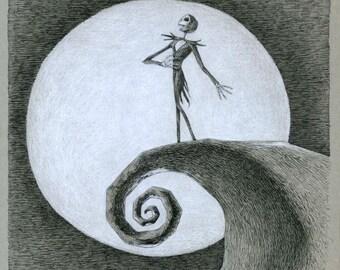 Jack Skellington illustration print - high quality