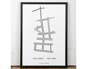 Wall Street Print, Printable wall art decor poster, minimalist art, famous streets, INSTANT DOWNLOAD, city streets collection. Art for home