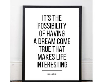 """Typographic Art """"Dream come true"""" Wall Art Inspirational Quote Simple Print Typographic Print Wall decor Printable"""