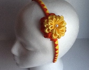 Yellow & Orange Zinnia Ribbons Flower Headband