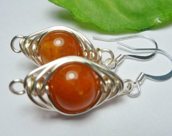 Semi Precious Fire Agate and Silver Plated Wire Wrapped Earrings
