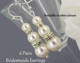Set of 6 Pairs Swarovski Pearl Earring Dangle Earrings Bridesmaids Gift Bridesmaids Earrings Long earrings Gift for Her Wedding Earrings
