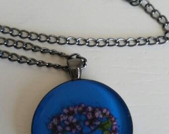 Spirea Alpine Flower Resin Pendant, Alaska Flower Necklace, Epoxy Resin Jewlery