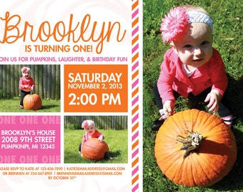 Orange and Pink Pumpkin Birthday Party Invitation