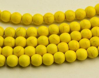 """15"""" Round Yellow Turquoise Beads howlite round beads Gemstone Beads 10mm"""