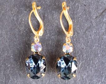 Sapphire Earrings Swarovski Crystal Cobalt Blue Glass Oval Drop Earrings