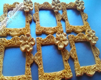 Edible sugar frames decorations for cake cupcake toppers