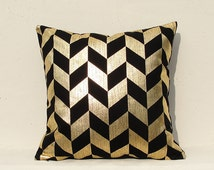 Gold pillow cover, Gold Cushion Cover, Geometric Pillow  Christmas pillow , Gold01