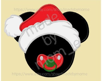 Mr Mouse Baby Santa Hat Applique