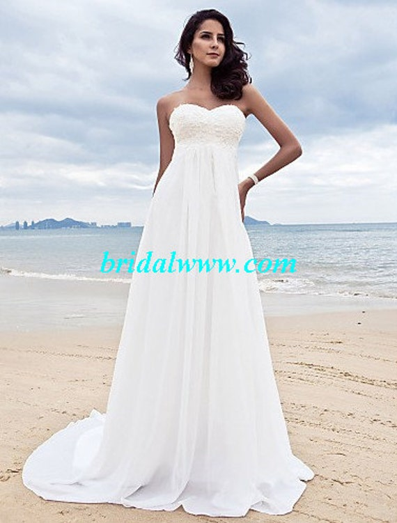 empire wedding dress , beach wedding dress