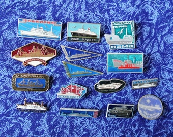 Vintage Set 15 pin  Badges from USSR- Famous soviet ships - Russian badge