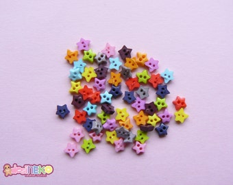 Tiny star buttons 60pcs 10 color 4mm 2holes mini colorful