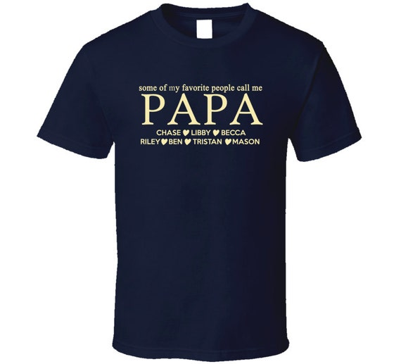 papa t shirt with grandkids names custom papa t shirt. Black Bedroom Furniture Sets. Home Design Ideas