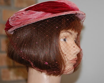 Vintage Pink Velvet Hat with Netting by Chanda
